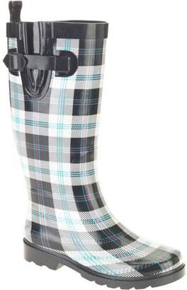 Generic Women's Plaid Tall Rubber Rain Boots