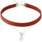 Nakamol Double-Strand Suede & Moonstone Choker Necklace, Black