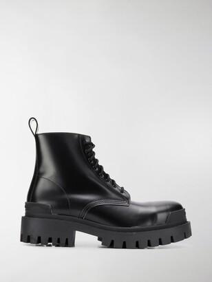 Balenciaga Black Strike Leather Boots