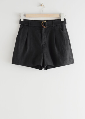 And other stories Belted Linen Pleat Shorts