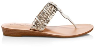 Jack Rogers Tinsley Metallic Braided Leather Demi Wedge Sandals
