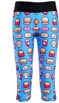 Lady Queen Women's Fast Food Printed Fitness Knee-length Capri Pants XL