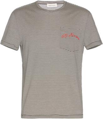 Alexander McQueen Logo Pocket Cotton and Silk T-Shirt