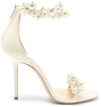 Jimmy Choo Maisel 100 Faux Pearl-embellished Leather Sandals - White