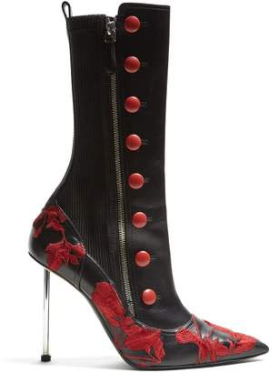 Alexander McQueen Flower Embroidered Leather Boots - Womens - Black Red