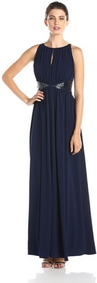 JS Boutique Women's Long Jersey Gown with Triangle Bead Motif
