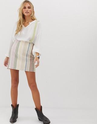 En Creme pinafore bodycon skirt in tonal stripe