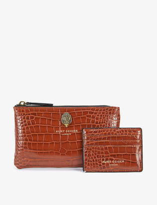 Kurt Geiger Croc-embossed faux-leather pouch and card holder