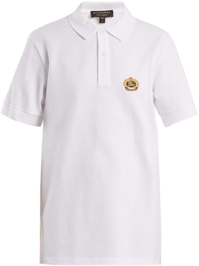 Burberry Unisex crest-embroidered cotton-piqué polo shirt