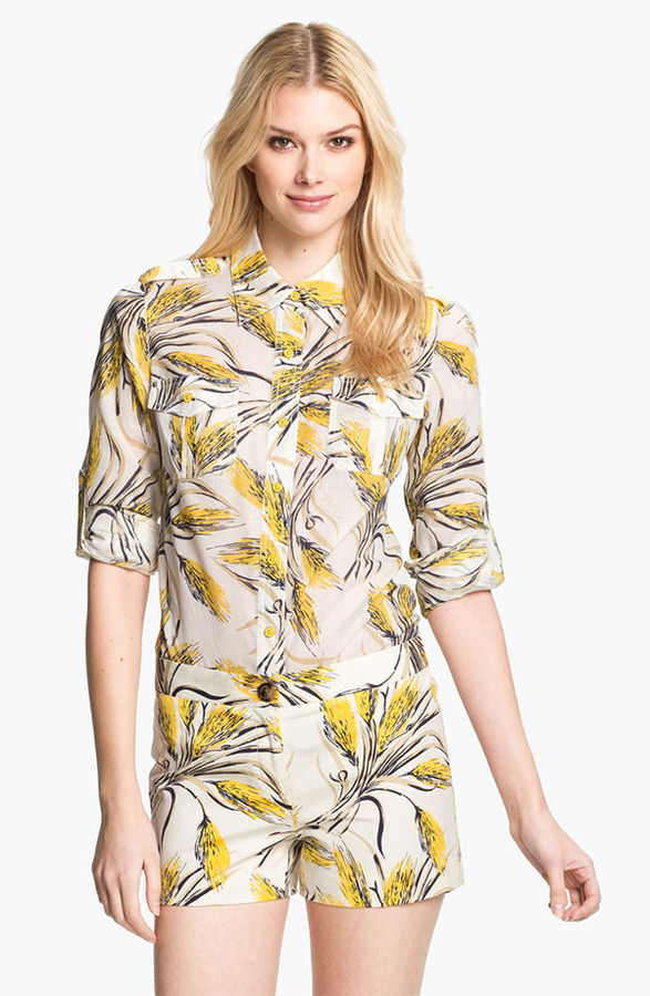 Tory Burch 'Brigitte' Print Military Shirt