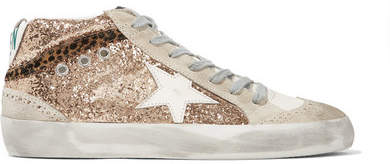Golden Goose Mid Star Glittered Distressed Leather And Suede Sneakers