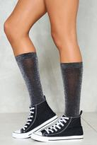 Nasty Gal nastygal Best Foot Forward Glitter Knee Socks