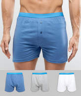 Asos Jersey Boxers With Blue Waistband 3 Pack Save