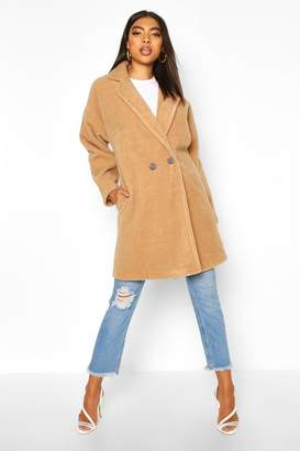boohoo Tall Brushed Wool Effect Button Front Coat