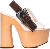 Rochas buckled platform sandals - women - Calf Leather/Silk/Leather/rubber - 36