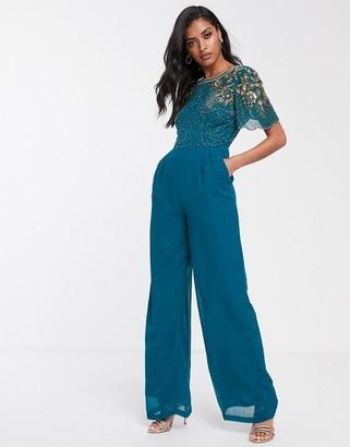 Virgos Lounge embellished top jumpsuit in blue