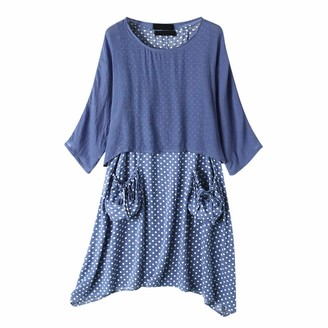 Luckme Women Two Pieces Dress Polka Dot Print Dresses with Pockets Summer Knee Length Skirt Irregular Hem Dresses Long Sleeve Crew Neck Tunic Dresses Ladies Sky Blue