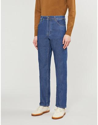 Corneliani High-rise loose stretch-denim jeans