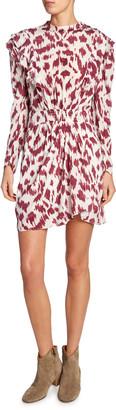 Etoile Isabel Marant Yoana Printed Long-Sleeve Ruffle Dress