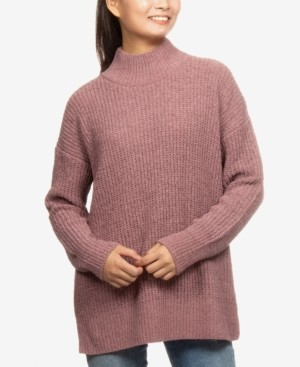 Hippie Rose Juniors' Mock-Neck Boxy Tunic Sweater