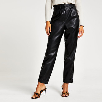 River Island Black faux leather high waisted peg trousers