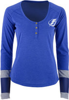 Reebok Women's Tampa Bay Lightning Stripe Henley Long Sleeve T-Shirt