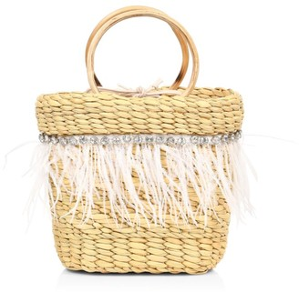 Poolside The Mak Feather- & Crystal-Embellished Straw Tote