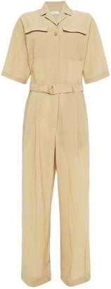LVIR Belted Crinkled-crepe Wide-leg Jumpsuit