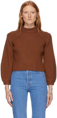 Tibi Brown Merino Rib Slit Neck Pullover Sweater