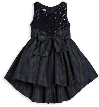 Pippa & Julie Little Girl's Sequin Fit--Flare Dress with Taffeta Plaid Skirt