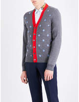 Gucci Bee Embroidered Wool Cardigan