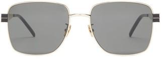 Saint Laurent Square Metal Sunglasses - Grey Gold
