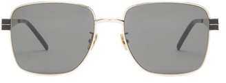 Saint Laurent Square Metal Sunglasses - Womens - Grey Gold