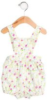 Oscar de la Renta Girls' Floral Print Sleeveless All-In-One