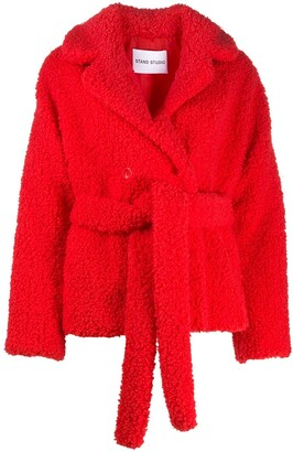 Stand Studio Tiffany faux shearling belted jacket