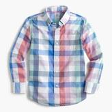 J.Crew Kids' Secret Wash shirt in faded multicheck