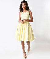 Unique Vintage Yellow Roman Holiday Scalloped Retro Flare Dress
