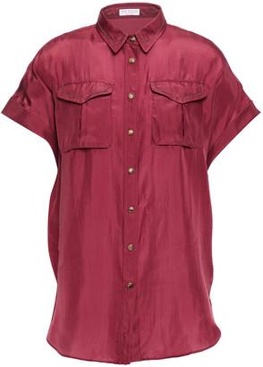 Brunello Cucinelli Snap-detailed Bead-embellished Silk Shirt