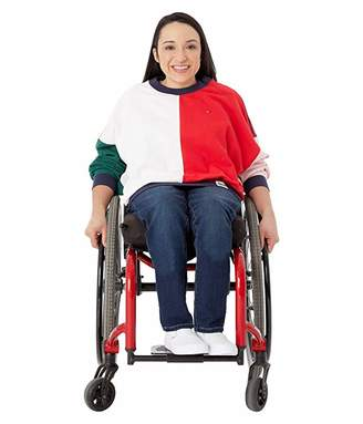 Tommy Hilfiger Adaptive Color Block Long Sleeve T-Shirt (Bright White/Racing Red/Multi) Women's Clothing