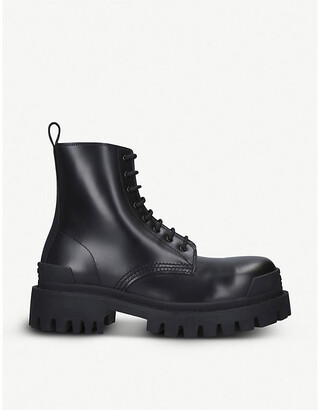 Balenciaga Strike leather platform ankle boots