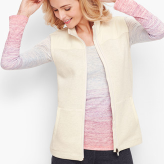 Talbots Woven Trim Fleece Vest