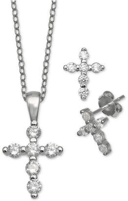 Giani Bernini 2-Pc. Set Cubic Zirconia Cross Pendant Necklace & Matching Stud Earrings in Sterling Silver