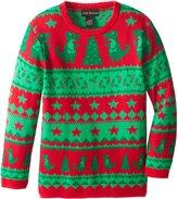 Alex Stevens Big Boys' Ugly Christmas Sweater Dinosaur Fairisle