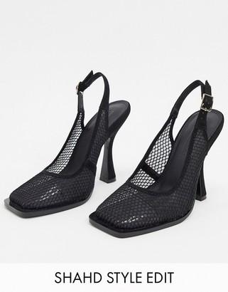 ASOS DESIGN Pryce square toe mesh slingback heels in black