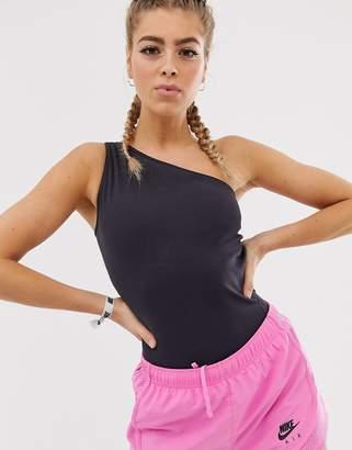 Nike Training yoga one shoulder bodysuit in gray