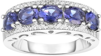 Sterling Iolite & Diamond Accent 5-Stone Band Ring