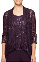 Alex Evenings Two-Piece Sequined Cardigan and Camisole