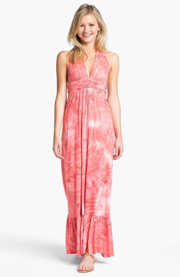 T-Bags Tbags Los Angeles Tie Dye Halter Maxi Dress