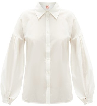 Le Sirenuse Positano Le Sirenuse, Positano - Tiger Balloon-sleeve Cotton-blend Poplin Shirt - White