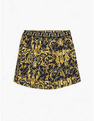 Versace Savage Baroque print cotton-blend pleated skirt 6-14 years